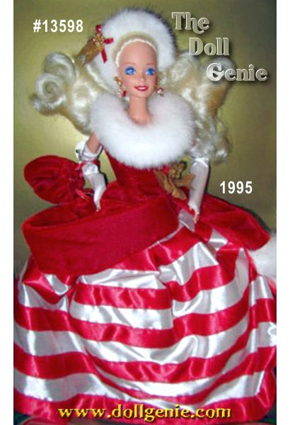 Barbie doll makes a delightful princess in this candy cane-inspired ensemble. Shes dressed in a sleeveless red fitted bodice with white faux fur-trimmed collar and cap, long white fingerless gloves, and a red and white striped full skirt. Golden floral accents at her waist and in her hair complement this candy-inspired costume.