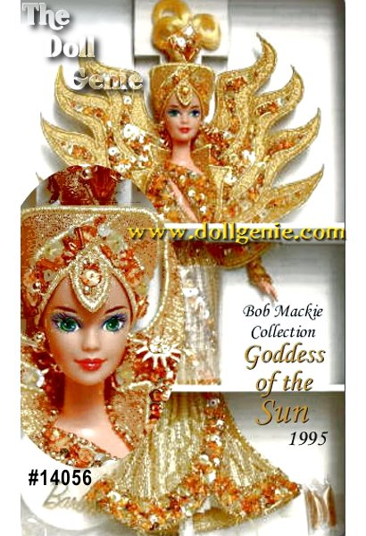 Befitting a dazzling goddess, Barbie wears a gown encrusted with over 11,000 hand-sewn sequins and beads. The sparkling bodice and slim skirt accentuate her perfect proportions. A luminous collar, echoing the rays of the sun sits gently on      her shoulders. Her unique, yellow gold hair shines like golden flax above a      majestic headpiece accented with rhinestones. Earrings shaped like miniature suns brighten her mysterious smile.