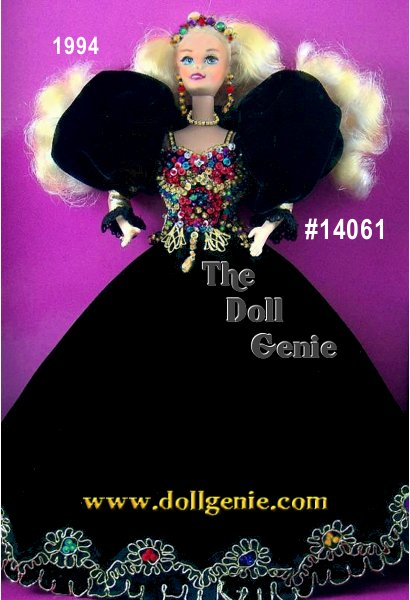 One of the few Barbie dolls to wear a black gown, Jeweled Splendor Barbie makes a dramatic statement in this gorgeous floor-length black velvet gown. The bottom of the dress is trimmed in golden braid, accented with colorful jewels. Her bodice is also accented by jewels, creating a colorful - as well as spectacular - sight. Black pouffed sleeves, a colorful jeweled tiara, and rngolden necklace and earrings complete this exquisite ensemble.