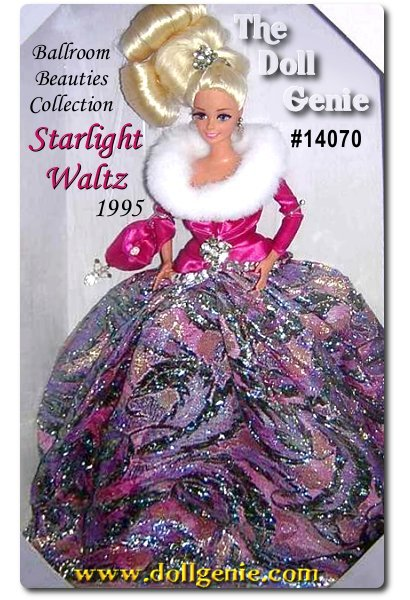 As she enters the ballroom, all eyes turn to Barbie doll. She is positively breathtaking in a magenta satiny bodice with white faux fur collar, and a floor-length metallic-woven ball skirt of textured jewel tones. Her billowing blond hair is pulled up and tied with a silvery hair jewel. Blonde Version