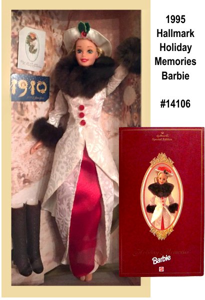 Greetings from Holiday Memories Barbie doll! Together, Barbie and Hallmark have teamed up to bring you this very special doll commemorating the 85th anniversary of Hallmark Cards. Barbie is dressed in a lovely white flared jacket and skirt with a red skirt underneath. Her jacket is trimmed in brown faux fur at the collar and cuffs, and the ensemble is accented with a red and white hat and brown knee-high boots.