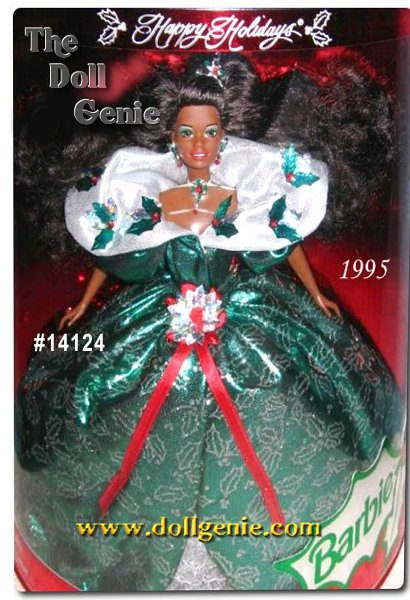 Barbie doll wants to wish you happy holidays! In a very festive green holly-printed dress with a silvery Victorian collar, Barbie personifies the charm of the season. Her ensemble is accented by red rhinestone berries, a poinsettia sash, jeweled choker and a red poinsettia in her hair. African American Version