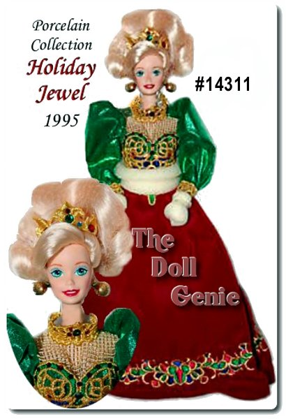 Limited Edition - She brings the warmth and joy of the holidays right into your home. Presenting Holiday Jewel Barbie doll. The first porcelain holiday Barbie ever created, and the premier doll in an exciting collection. Barbie dolls cheeks blush with the glow of the season. Her rich, velvet gown sparkles with rhinestones and glows with sumptuous embroidery. A gleaming embroidered tiara crowns her beautiful hair and golden earrings complete her holiday look. Made of fine bisque porcelain, meticulously hand painted, this numbered, Limited rnEdition doll comes complete with a Certificate of Authenticity and doll stand.