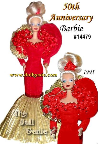 Barbie doll helps commemorate Mattels golden anniversary in this fabulous ensemble! Dressed in a rich red velvet gown adorned with fifty red roses, Barbie truly is a majestic vision. Her slender gown tapers to a row of glittering red beads, then flares dramatically at the bottom into dozens of shiny golden pleats. On her wrist, she wears a special commemorative 23 karat gold electroplated bracelet with Mattel on one side, and 50th on the other. This stunning doll was handcrafted in fine bisque porcelain.