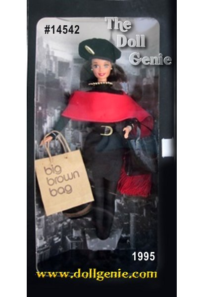 Sporting a fabulous Donna Karan-designed ensemble, Barbie doll wears a black mock turtleneck, sarong skirt, red fringed shawl, black hose, and a beret. Accessories include a purse, black sunglasses, and a Bloomingdales shopping bag. (Brunette Version very hard to find)