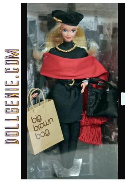 Sporting a fabulous Donna Karan-designed ensemble, Barbie doll wears a black mock turtleneck, sarong skirt, red fringed shawl, black hose, and a beret. Accessories include a purse, black sunglasses, and a Bloomingdales shopping bag.