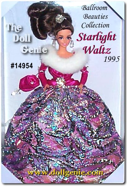 As she enters the ballroom, all eyes turn to Barbie doll. She is positively breathtaking in a magenta satiny bodice with white faux fur collar, and a floor-length metallic-woven ball skirt of textured jewel tones. Her billowing hair is pulled up and tied with a silvery hair jewel. The brunette version was  created exclusively for the 1995 Disney Teddy Bear and Doll Convention, and came with a Disney convention pin. This was a very limited edition version. This Brunette Version is very difficult to find.rn