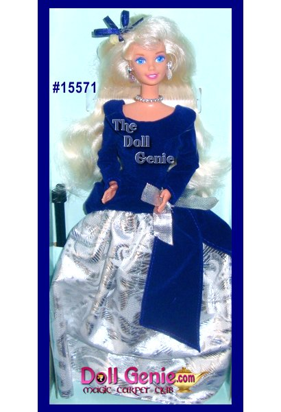 Winter Velvet Barbie 1995 Mattel First in Series Special Edition - This Avon Exclusive Barbie is wearing a beautiful gown of navy blue and silver, bodice velvet navy blue and silver bottom, necklace, earrings, long blonde hair, detailed make-up - Never out of Box
