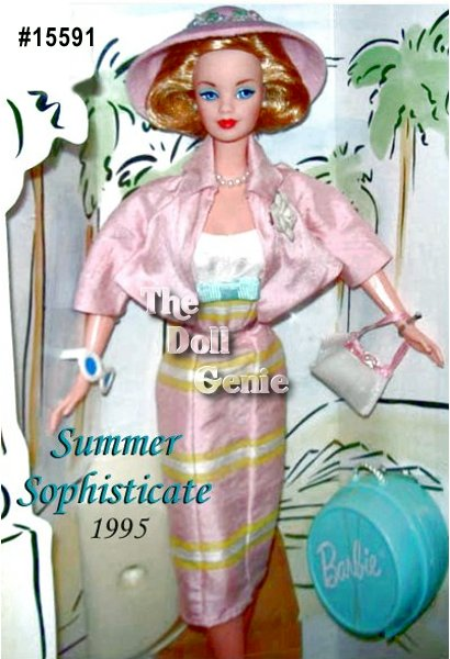 She is cool and sophisticated in this elegant summer fashion. Her short, cropped jacket slips off to reveal a stunning dress of pink and white silk shantung with accents of yellow and blue. Her matching hat is decorated with delicate flowers, and of course, Barbie would not go anywhere without coordinated shoes and handbag. A porcelain rose on her lapel, a strand of faux pearls and the perfect travel bag add the flawless finish to this refined and charming Spiegel doll.