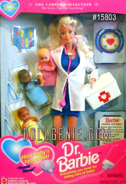 1995 Doctor Barbie - She's everyone's favorite doctor! Press the stethoscope against baby or any patient and hear a heartbeat! Fun stick-on bandages to make baby feel all better! Dr. Barbie loves taking care of children! She comes with 3 babies to care for.