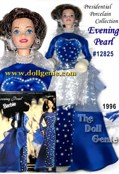Limited Edition - Like a deep blue evening sky, gracefully dotted with luminous moons, Evening Pearl Barbie envelops you with her beauty. Her stunning gown is encrusted with over 200 faux pearls, imported from the Orient. Each one is individually hand sewn onto rich velvety velour. The close-fitted bodice and sleek straight skirt are beautifully accented by a dramatic organza train that falls gracefully behind her. Barbie dolls sleeves and hemline are delicately outlined with a single strand of tiny faux pearls. An elegant three strand choker and matching drop earrings complete her bewitching evening look. Finally, her lovely brunette hair is carefully styled to frame her face.