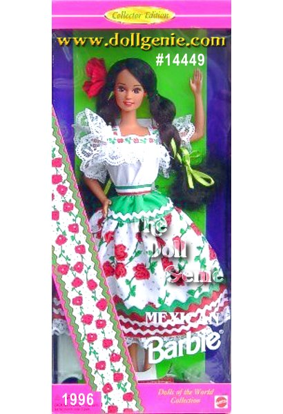 Bienvenidos! Or welcome to Mexico with this colorful beauty from the Dolls of the World Collection. Barbie wears a fiesta costume in red, white and green to celebrate the colors of the Mexican flag. Her white peasant blouse is trimmed with ruffled lace and ribbon, while her three-tiered skirt is accented with rick-rack and trimmed with matching lace. From her ribbon cinched waist to the big red rose in her long, jet black hair, Mexican Barbie doll is muy bonita (very beautiful)!