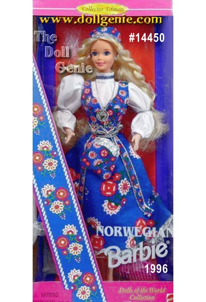From the land of the midnight sun comes a doll that can light up the night: meet Norwegian Barbie doll. This Collector Edition doll wears a traditional, lace trimmed, blue jumper dress called a bunad. Her crisp, white blouse, trimmed in blue around the collar, features beautiful pouffed sleeves. She has a matching square cap and an adorable printed purse with a silvery top and cord. She even wears a traditional Norwegian silvery coin necklace. Of course this international beauty sports long, beautiful blonde Norwegian braids.