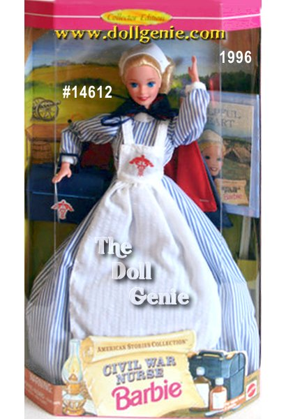 Travel to the battle at Gettysburg as Barbie tends the wounded in her nurses uniform. She is pure inspiration in her blue and white striped dress, crisp white apron and cape coat draped across her shoulders. She even comes ready for action with her own medical bag. Girls are sure to love this ministering angel. From the American Stories Series, this beautiful Barbie doll even comes with her own storybook that teaches kids about life during Civil War times.