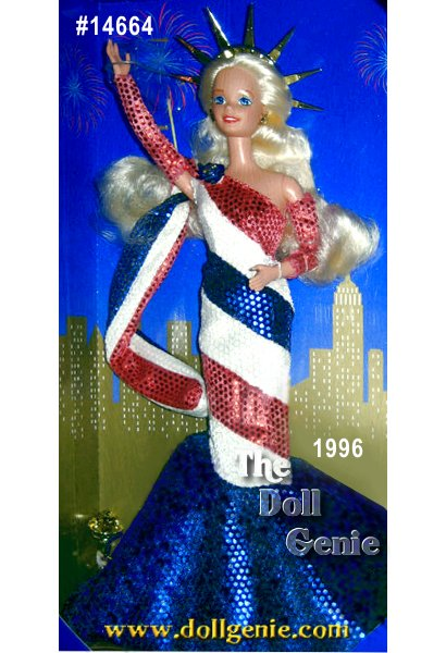 Limited Edition - She is a symbol of liberty and a beacon of beauty. Meet Statue of Liberty Barbie, the very first doll in the FAO Schwarz American Beauties Collection. She was designed as a tribute to the 110th anniversary of the Statue of Liberty, given to the United States by France to commemorate our centennial. Created by talented Mattel designer Heather Dutton, this exceptional Limited Edition doll captures the grace and beauty of the original Lady Liberty. From her gleaming torch to her majestic crown and shimmering red, white and blue gown she captures the spirit of America. Statue of Liberty Barbie doll. Regal, majestic, beautiful. Let the fireworks begin!
