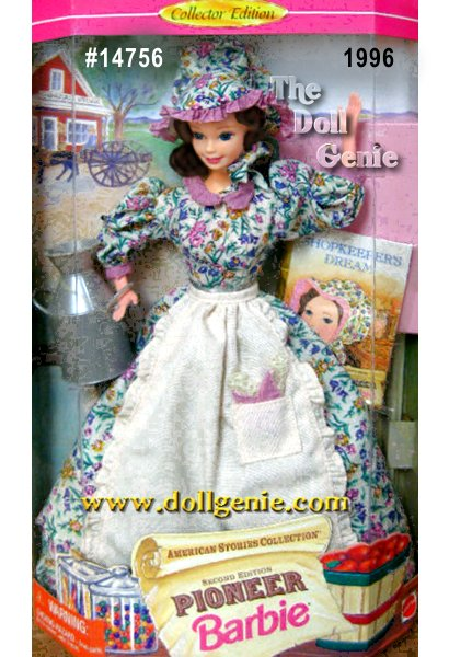 Second in the American Stories Series, Pioneer Shopkeeper Barbie doll follows her dreams as a young shopkeeper selling wares from her general store. She is dressed in a full-length calico dress with an ivory apron and a matching bonnet. She even comes with an adorable milk pail from the store. A Collector Edition doll, girls will adore both this doll and the very special storybook that brings pioneer history to life.