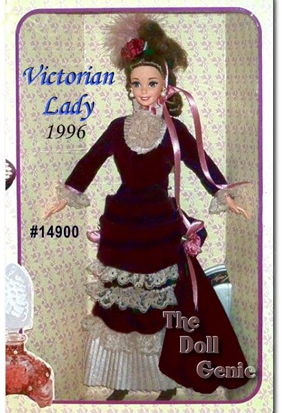 It was a time when dainty ladies wore velvet and lace, and never had a hair out of place. Meet Victorian Lady Barbie doll from The Great Eras Collection. She is dressed in an authentic velvety Victorian gown, with loads of ivory lace and an elegant bustle. Lovely mauve rosettes accent each side of her rich burgundy dress. Her long, dark hair is braided in the back and styled into a demure Victorian up-do. From her long, rooted eyelashes to her marabou headpiece this Collector Edition doll is a picture of Victorian propriety.