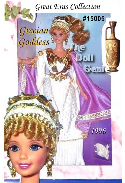 Protector of Ancient Athens. Goddess of wisdom. Beautiful beyond words. Meet Grecian Goddess Barbie doll from The Great Eras Collection. This Collector Edition doll, fashioned after the goddess Athena, wears a white pleated tunic, decorated with golden laurel leaves, and cinched at the waist. A royal purple cloak adds contrast and color to this ravishing beauty. Her hair is charmingly styled in clusters of blonde ringlets around her face and gathered into one curled ponytail. From her iridescent sandals to her elaborate headdress and long rooted eyelashes, shes definitely the high priestess of fashion.