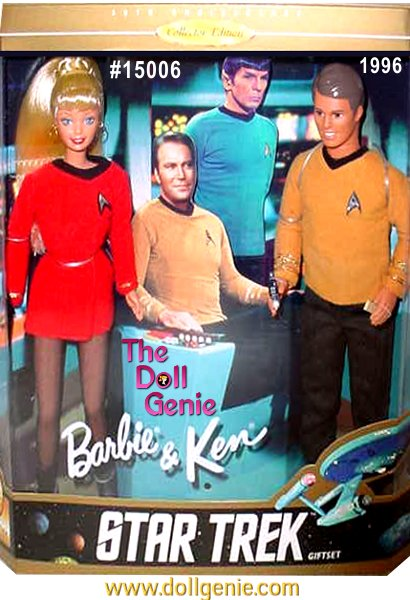 Join Barbie and Ken for a special mission aboard the U.S.S. Enterprise in this tribute to the rnoriginal Star Trek series. Barbie doll is an Engineering Officer in her short, red uniform with black trim. She wears an authentic insignia and carries a Tricorder and a Communicator. Ken doll wears a gold jersey and insignia indicating he is a Command Officer. He carries a Phaser and Communicator. The dolls are displayed in a fun, commemorative package along with Captain James T. Kirk and First Officer Spock. Beam aboard, and let the adventure begin.
