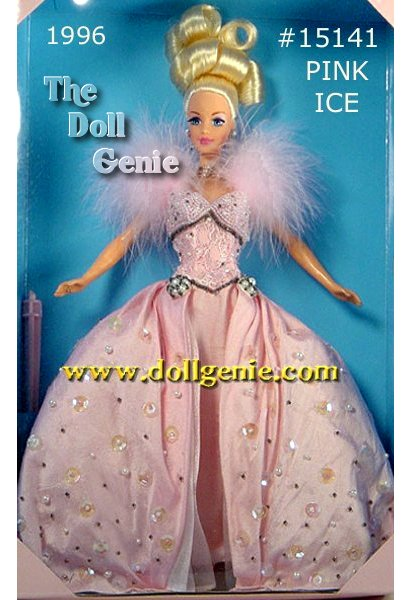 First in a new limited edition series, this doll is a fantasy in pink. Pink Ice Barbie wears a dazzling gown with a fitted bodice that shimmers with pink beading and white faux pearls. Her slim silky shantung skirt is topped with beads, sequins, and faux pearls. A soft pink marabou collar frames her face and her hair is swept into an up-do. She has rooted eyelashes and the Mackie head mold. She is the most expensive Toys R Us Exclusive to date.