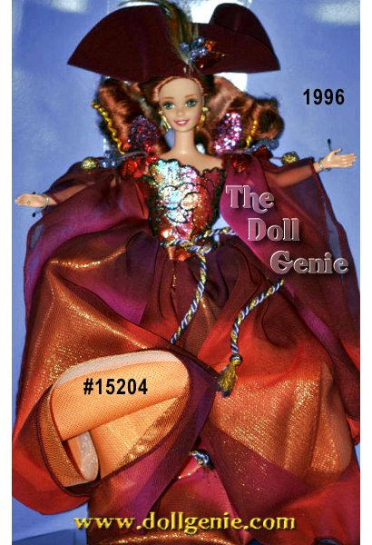 Shes a doll as magical as the seasons of your childhood. Meet Autumn Glory Barbie doll from the Enchanted Seasons Collection. Her long, chiffon gown shimmers in hues of copper and auburn. Adorned with fall leaves and accented with hints of purple and gold, her gown flows around her like an autumn breeze. The fitted, metallic appliqu?d bodice glitters like sunshine dancing through the trees, and even her earrings are shaped like graceful golden leaves. Her long, auburn hair falls gently past her shoulders, and a dark, wine colored hat, embellished with feathers and leaves, adds the final touch to this wondrous autumn portrait.