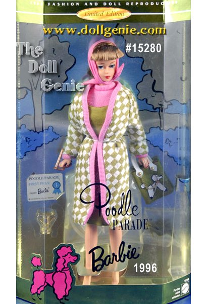 Everyone loves a parade, and Barbie doll could lead one in this reproduction of a 1965 Barbie doll and vintage fashion. Her facepaint, sculpting and hairstyle are pure nostalgia, while her fitted olive green jumper and checkered knit coat make you yearn for the fashion sense of yesterday. Her accessories include a pink scarf, tote bag, sunglasses, trophy and first prize certificate.
