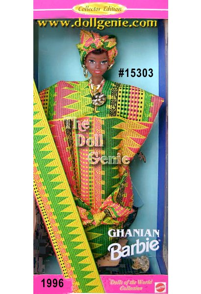Tour the wilds of Africa with this Collector Edition Barbie doll in a traditional costume from the West African country of Ghana. She wears an authentically styled Kente cloth tunic dress that ties into a bow below her knees. A brightly colored turban ties around her head and she wears flat golden sandals for walking through the lush forests. Her beautiful jewelry, including golden hoop earrings, a bangle bracelet and a seashell necklace, all add to the captivating charm of this African beauty.