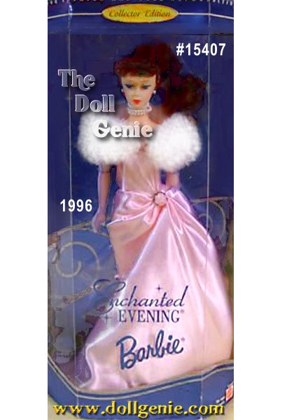 Its a night to remember, as this Collector Edition Barbie doll wears a reproduction of one of her most popular vintage fashions from 1961. A white, faux fur stole wraps around an icy pink satin strapless gown while a delicate rose accents her tiny waist. A slim skirt with long, draping train adds an extra measure of glamour. She wears opera length gloves, a demure faux pearl choker with matching earrings, and glittery open-toe transparent pumps. With her luminous brown hair and nostalgic face shell take you to a place and time thats sure to capture your heart.