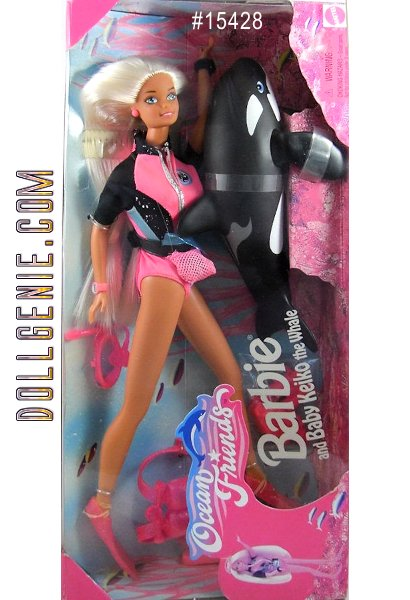 Ocean Friends Barbie and Baby Keiko the Whale- 1996 Mattel Ocean Barbie. Never removed from box. Magical wet suit disappears in warm water and reappears in cold water. Baby Keiko jumps out of the water when you hold him under then let go.