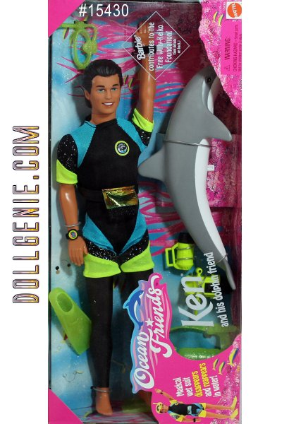 1996 Barbie Ocean Friends Ken Doll and His Dolphin Friend Set. Ken's wet suit magically disappears in warm water and appears in cold. Molded brown haired and blue-eyed Ken wears and neon green, blue and black swim fashion. The dolphin makes real dolphin sounds by pushing the button on his stomach. This set comes with lots of accessories such as face mask, tank, swim fins, snorkel; underwater camera, watch, and flashlight.