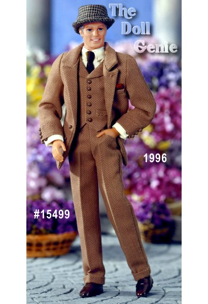 Its Ken doll as a very distinguished Professor Henry Higgins in My Fair Lady. You will love him in his brown herringbone-like suit. His tailored trousers are cuffed at the bottom, and his two button jacket is worn over a very proper vest, white shirt and tie. Every detail is absolutely perfect, including the slight grey on the sides of his hair. He is the perfect accompaniment to Eliza in each of her ensembles, and his poseable body allows you to set scene after scene between the two of them.