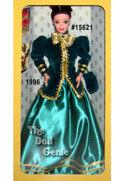 A nostalgic Hallmark greeting card comes to life with this charming and demure holiday Barbie doll. Her dark green velvety jacket is accented with opulent golden trim. An emerald green satin skirt billows out beneath the jacket while a golden bow and shimmering brooch add a festive holiday accent. From her strawberry blonde hair, piled elegantly atop her head, to her velvety handbag and matching green pumps, Yuletide Romance Barbie doll brings you the warmth and nostalgia of the holiday season.