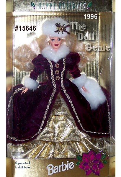 In a charming burgundy velvet coat trimmed in luxurious white faux fur, Barbie doll welcomes the holiday season. Underneath her lovely velvet coat is a golden-tiered skirt. A gorgeous white faux fur muff and hat match the fur accents at her collar and sleeves.  Blonde - Caucasian Version