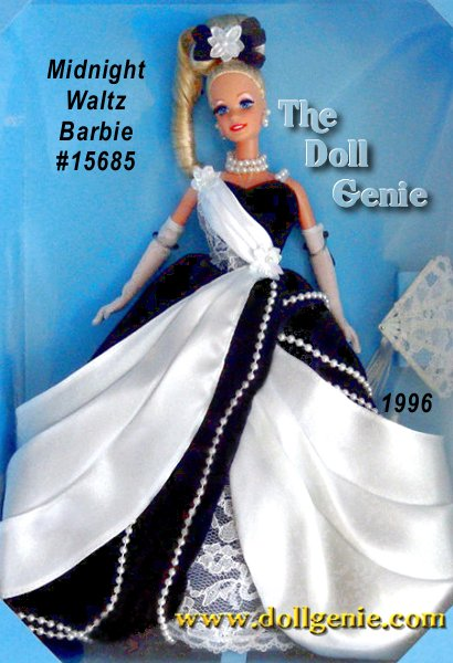 Shes the belle of the ball in her midnight blue, velvety ball gown. Strands of faux pearls adorn her glamorous skirt, while a white satiny drape adds softness and contrast, and an underskirt of lace peeks out in front. Accessories include long white opera gloves and a double strand faux pearl necklace. From the bow in her hair to the dainty fan in her hand, everything about this stunning Limited Edition doll will make you want to dance. Blonde Version