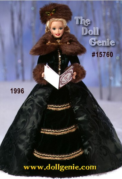 Second in the Holiday Porcelain Barbie Collection. Holiday Caroler Barbie doll looks as if she just stepped out of the last century. In keeping with the joyful custom of caroling, she is dressed in charming traditional attire. Her elegant, forest green fitted jacket, highlighted with rhinestone buttons, has cozy faux fur cuffs, while glittering rows of ornate golden trim enhance her long, graceful skirt. And to keep her warm as she makes the season merrier with song, she wears a faux fur stole and matching hat. Underneath, her lace-trimmed petticoat and pantaloons complete the ensemble. A caroling book with -Jingle Bells- lyrics is a delightful finishing touch to her festive appearance.  Holiday Caroler Barbie doll celebrates the beauty and richness of the holiday season.
