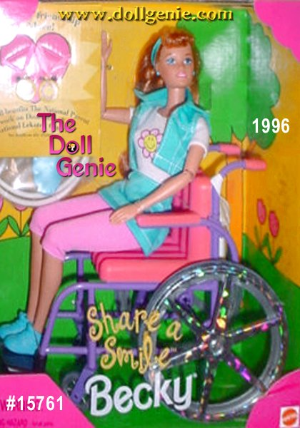 Share A Smile Becky, friend of Barbie. She is in a wheelchair with a cute outfit, blonde hair and poseable arms. She comes with 2 necklaces also