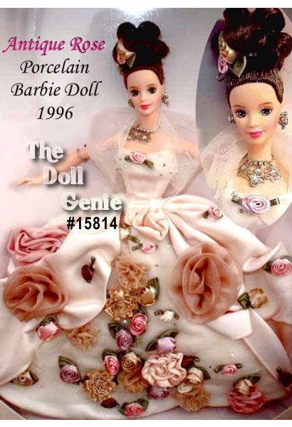 Antique Rose Barbie, the first doll in the exclusive Limited Edition FAO Schwarz Floral Signature Collection wears a satin ball gown colored with a delicate antique rose blush. Rosebuds of varying shapes and sizes adorn her lavish skirt. Like the petals of a rose, her underskirt consists of satin with an overlay of delicate tulle, studded with tiny beads. A sheer ivory shawl wraps around her lovely shoulders and her brunette hair is styled in a stunning up-do that dramatically sets off her pale, beautiful skin. Elaborate detailing, stunning jewelry and luxurious fabrics make this flower one you are sure to pick.