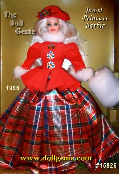 Celebrate the holidays in royal fashion. This elegant, Limited Edition doll from the Winter Princess Collection wears a short, red velvety coat trimmed in soft, white cozy fur. The peplum styling accents Barbie dolls tiny waist while her jaunty red hat complements her long, blonde hair. From her snowy muff to her classic, plaid skirt, shes the perfect doll to warm your holiday season.