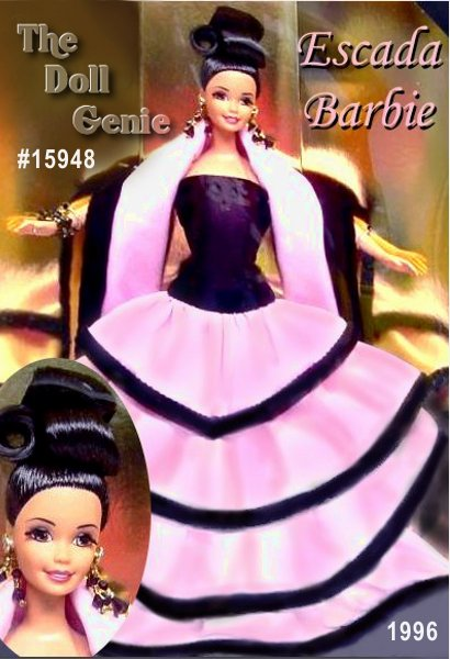 Its high fashion, high drama and another first for Barbie doll as she wears a reproduction of an original Escada design. Her exquisite European design features a fitted, black velvet bodice, surrounded by layers of pink silk shantung that creates a graceful cascade of fabric around this radiant Barbie. The result is a stunning doll and a spellbinding example of haute couture. A Limited Edition doll, Escada Barbie doll features long, rooted eyelashes, a stunning silk stole, long beaded earrings and ultimate glamour.