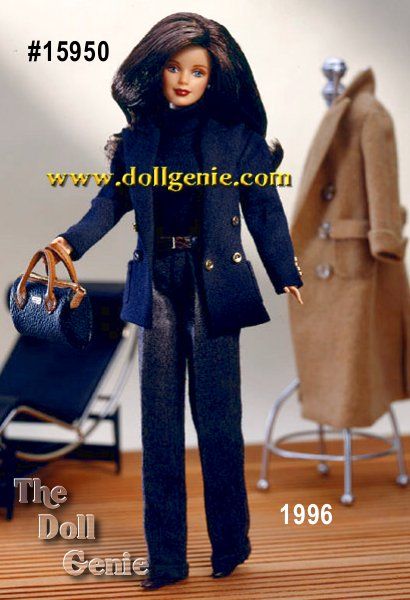 A tribute to timeless, feminine style, Ralph Lauren Barbie doll captures the essence of an elegant American lifestyle. Clothed in authentic Ralph Lauren designs and available exclusively at Bloomingdales, this doll reflects a classic heritage infused with modern character. Barbie wears a double-breasted navy wool-blend jacket with patch pockets, embroidered Ralph Lauren emblem and gold-tone button detail on the sleeves and the front of the jacket. She has a navy knit turtleneck bodysuit, grey wool-blend pants with cuffs and a double-breasted camel-colored overcoat and a half belt in back. She is truly a collectors item to be treasured for generations. Honoring tradition with integrity of design and enduring quality. Fashion designed by Ralph Lauren.