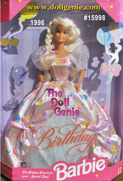 Birthday Barbie is dressed in a beautiful gown decorated with colorful balloons. The prettiest present for your special day. On a day you were born, a wish come true, for everyone who loves you and Barbie doll too!