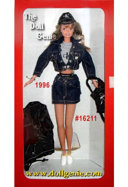 What could be hipper? Its a very cool Barbie doll dressed from head to toe in Calvin Klein designer clothes. She wears a real denim skirt with an authentic CK label and her trendy grey crop top is covered by a denim jacket. Her accessories include an adorable back pack, a CK windbreaker with, of course, a big Calvin Klein logo on the back, sneakers and a baseball cap. Even her underwear sports the familiar Calvin Klein logo.