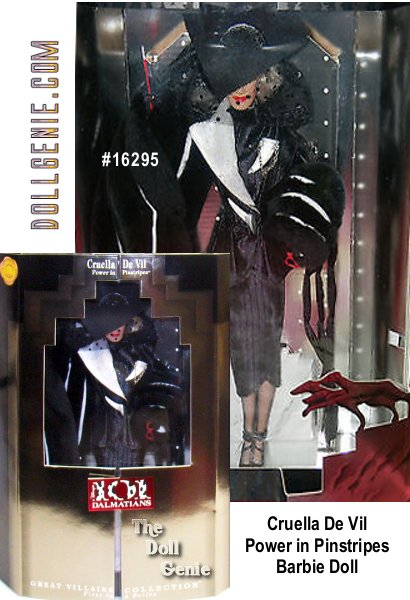 This is #1 in the Disney Great Villians Collection! This beautiful doll portrays Glenn Close wonderfully in this fantastic version of Cruella De Vil as Barbie. Cruella De Vil knows how to make an unforgettable entrance in Disney's Live-action film, 101 Dalmations. And now, dressed in a spectacular fashion inspired by the House of De Vil, emerges a collector doll created in the likeness of Glenn Close as the evil Cruella De Vil. She looks positively devil-ish in her Power in Pinstripes fashion: A fitted black satin suit, extravagant faux fur stole, with extreme hat. Details like black spiked heels and scarlet cigarette holder and red sunglasses capture the essence of Cruella's delightfully wicked character.