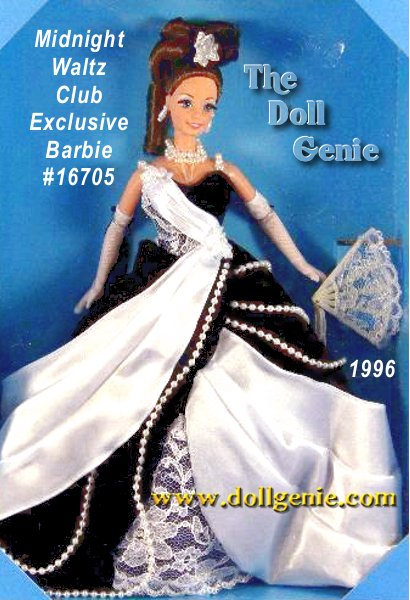 Club Exclusive - From the Ballroom Beauties Collection. Shes the belle of the ball in her midnight blue, velvety ball gown. Strands of faux pearls adorn her glamorous skirt, while a white satiny drape adds softness and contrast, and an underskirt of lace peeks out in front. Accessories include long white opera gloves and a double strand faux pearl necklace. From the bow in her lovely brunette hair to the dainty fan in her hand, everything about this stunning Limited Edition doll will make you want to dance. Brunette Version