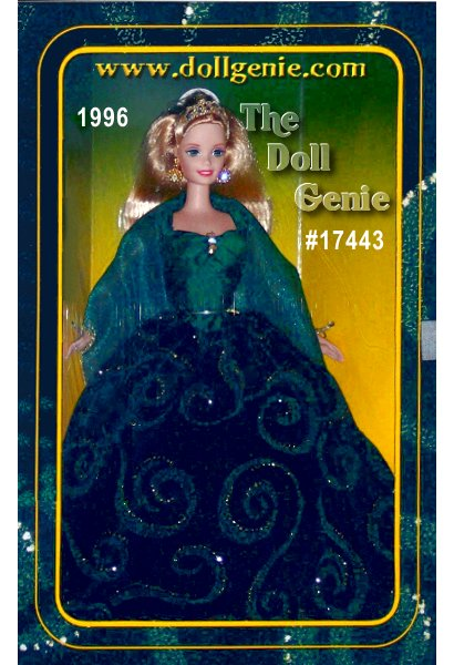 A stunning vision in green, Emerald Enchantment Barbie doll is surrounded by a swirling gown sparkling with golden highlights. The third and final doll in the Society Style Collection available exclusively at Toys R Us, Barbie wears an emerald green dress with a taffeta bodice and velvety skirt. She has an emerald green shawl edged in golden thread. Accessories include a headband, earrings, and a golden hand ring. She is a true beauty for all to behold and treasure always.