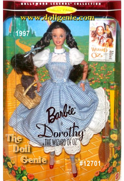 Hollywood Legends Barbie as Dorothy is off to see the wizard! And shes wearing an authentic replica of the dress Dorothy wore in the movie. From her crisp blue gingham jumper and white petticoat all the way down to her magical ruby slippers, this Collector Edition doll is sure to make you smile. She even carries her little dog Toto in her basket. So follow the Yellow Brick Road and join her in a land of pure enchantment as Barbie doll portrays Dorothy in The Wizard of Oz.