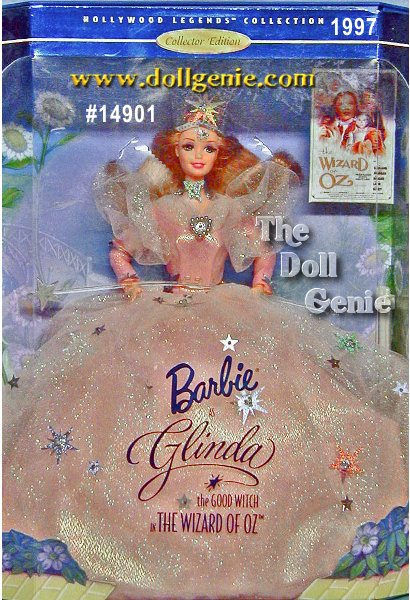 Hollywood Legends Barbie doll is magical as Glinda, the Good Witch. Her lavish peach gown is made of layers of sparkling tulle with an iridescent underskirt that seems to radiate light. She wears a clear, sparkling crown with a silvery starburst atop her head. A silvery choker wraps around her lovely neck. And of course, she carries her magic wand to bring hope and joy to everyone who loved her in this wonderful musical. So click your heels three times, and be transported to the magical land of Oz.