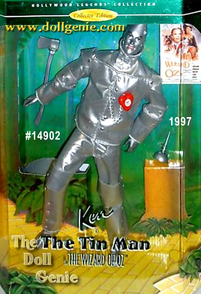 Hollywood Legends Wait until you see Ken as the lovable Tin Man in this wonderful recreation from everyones favorite movie. He wears a metallic-looking, silvery ensemble that even has rivets accenting all his joints. He has a poseable body and comes with an oil can, ax and even a red heart-shaped clock (just like the one the Wizard gave him in the movie). Follow the Yellow Brick Road with this very special Collector Edition doll. Ken doll as the Tin Man may be in search of a heart, but he is sure to win yours in this wonderful, whimsical costume.