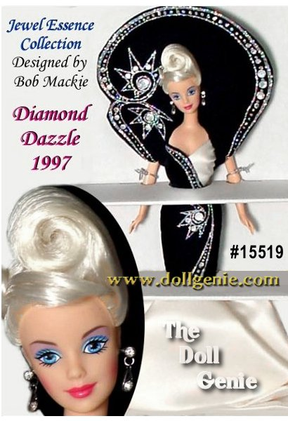 Jewel Essence  Collector Edition - She is as precious as the stone for which she is named. Diamond Dazzle Barbie doll, from the Jewel Essence Collection by Bob Mackie, is a vision of sophistication in her magnificent gown. This collection celebrates the glamour and brilliance of jewels and each doll is adorned with beautiful Swarovski crystals. Here, Barbie is dressed in rich black velvet and white satin with crystal rhinestones blazing like stars across the midnight sky. Youll treasure her as you would your finest jewelry.