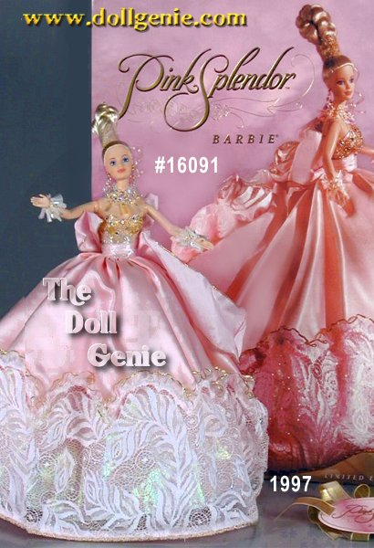 Limited to only ten thousand pieces worldwide. Barbie dolls pale pink gown is made of fine silk satin and trimmed in a delicate, glittering lace. The exquisite bodice is made of golden lace over pale pink taffeta, accented beautifully with shimmering rhinestones. A wide pink ribbon forms a bow in the back that flows down into a sumptuous train. The back of her gown is adorned with graceful pink roses while crystal jewelry adds a regal charm. Her accessories include pink silk panties, iridescent stockings and lovely pink garters. Finally, her dramatic up-do adds to the grandeur of one of the most Limited Edition Barbie dolls of 1996.